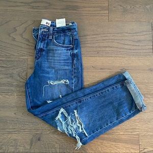 mid rise mom distressed jeans